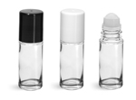 Glass Bottles, Clear Glass Roll On Bottles w/ Ball and Caps