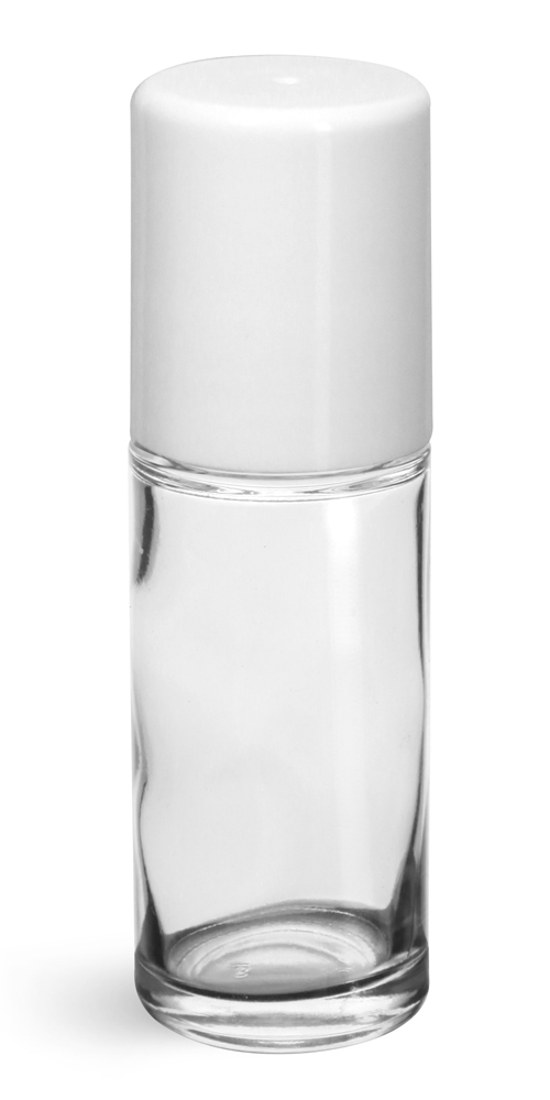 1 oz White Glass Bottles, Clear Glass Roll On Containers w/ Ball and Caps