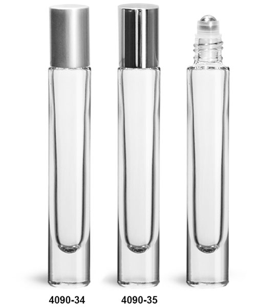 Glass Bottles, Clear Glass 10 ml Roll On Bottles w/ Ball and Silver Polypropylene Caps
