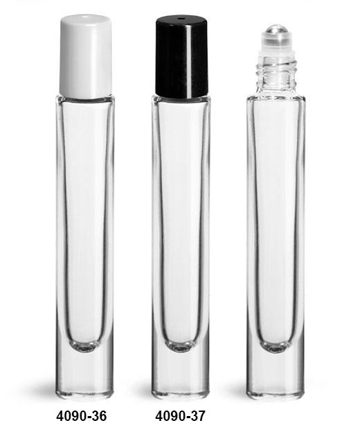 Glass Bottles, 10 ml Clear Glass Roll On Bottles w/ Balls and Caps