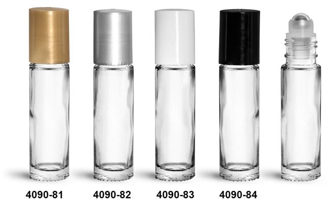 Glass Bottles, 0.35 oz Clear Glass Roll On Bottles w/ Metal Balls and Polypropylene Caps