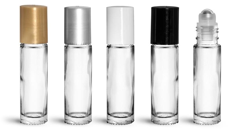 Clear Glass Bottles, 0.35 oz Glass Roll On Bottles w/ Metal Balls and Polypropylene Caps