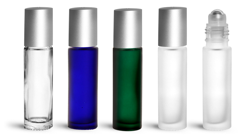 Glass Bottles, 0.35 oz Glass Roll On Containers w/ Metal Balls and Brushed Silver Polypropylene Caps