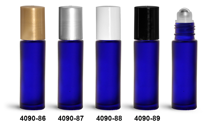 Glass Bottles, 0.35 oz Blue Frosted Glass Roll On Containers w/ Metal Balls and Polypropylene Caps