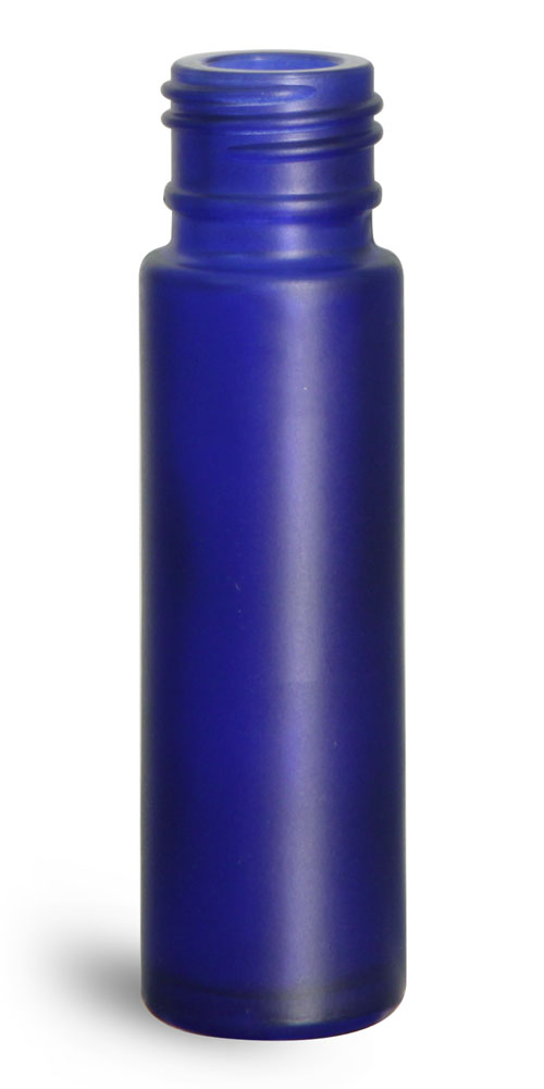 0.35 oz Glass Bottles, Blue Frosted Glass Roll On Containers (Bulk), Caps NOT Included