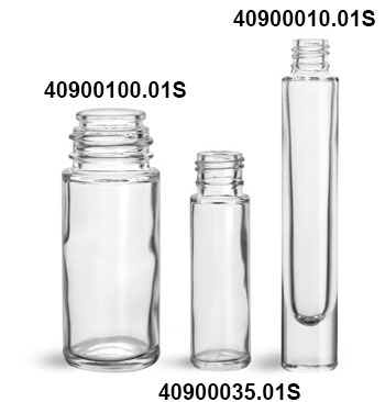 Glass Bottles, Clear Glass Roll On Containers (Bulk) Caps NOT Included