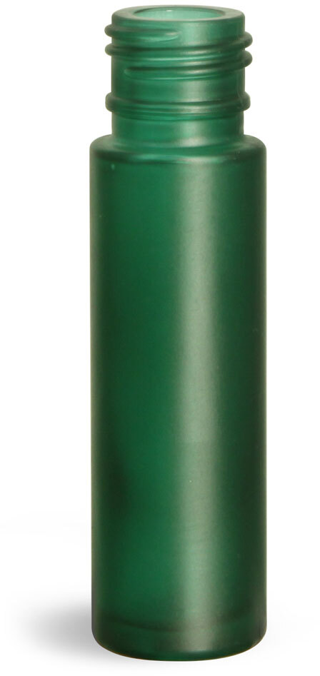 Glass Bottles, Green Frosted Glass Roll On Containers (Bulk) Caps NOT Included