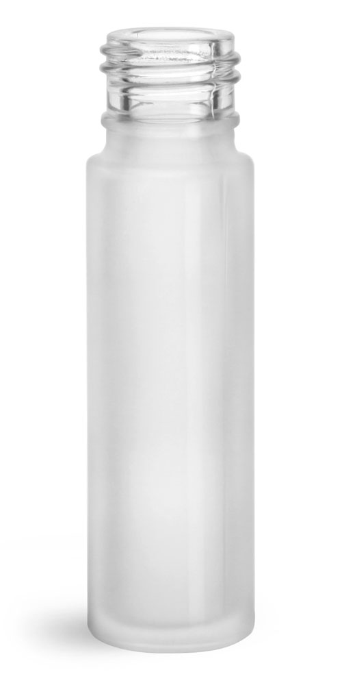0.35 oz Glass Bottles, Clear Frosted Glass Roll On Containers (Bulk), Caps NOT Included