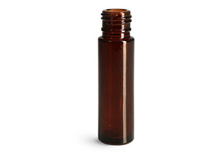 Glass Bottles, Amber Glass Roll On Containers (Bulk), Caps NOT Included