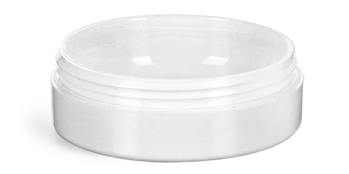1/2 oz Plastic Jars, White Urea Cosmetic Containers (Bulk), Caps NOT Included