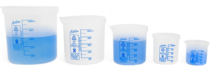 Plastic Beakers, Polypropylene Beakers (Set of 5)