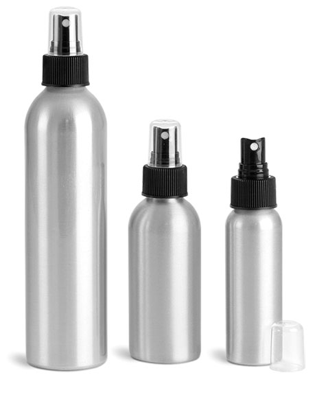 Metal Containers, Aluminum Bottles w/ Black Fine Mist Sprayers