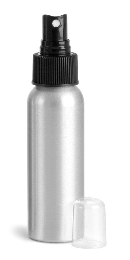 Aluminum Bottles w/ Black Fine Mist Sprayers