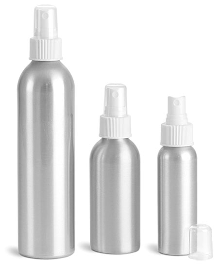 Metal Containers, Aluminum Bottles w/ White Fine Mist Sprayers