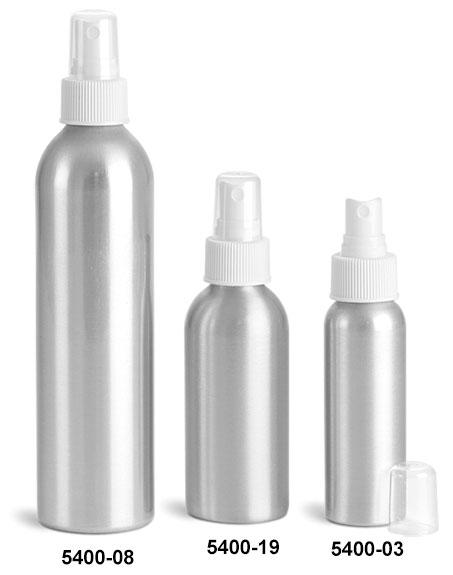 Metal Containers, Aluminum Bottles w/ White Fine Mist Sprayers