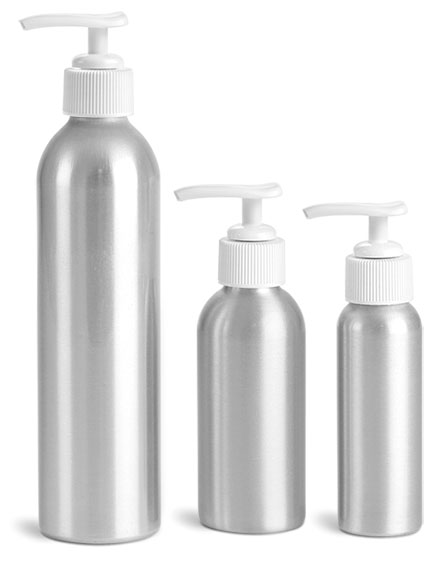 Metal Containers, Aluminum Bottles w/ White Lotion Pumps