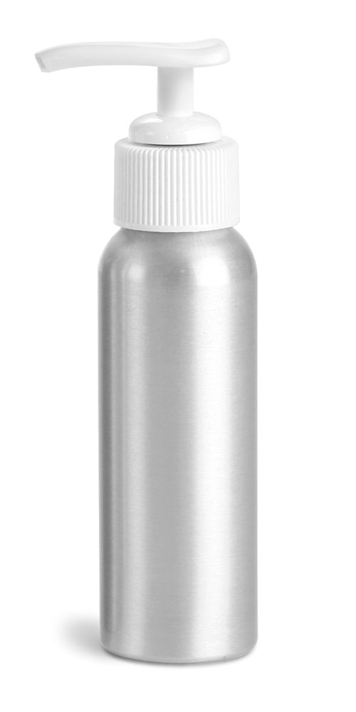 80 ml Aluminum Bottles w/ White Lotion Pumps