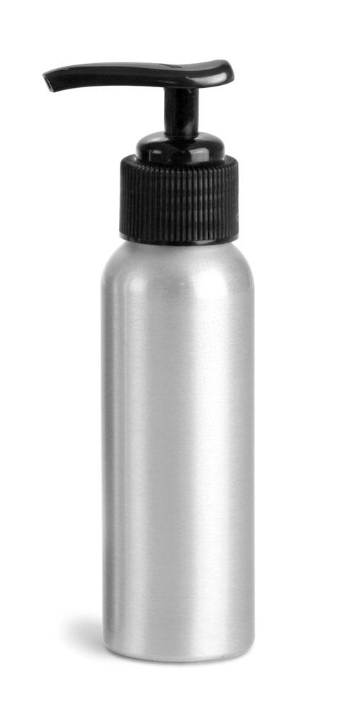 80 ml Aluminum Bottles w/ Black Lotion Pumps