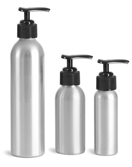 Metal Containers, Aluminum Bottles w/ Black Lotion Pumps