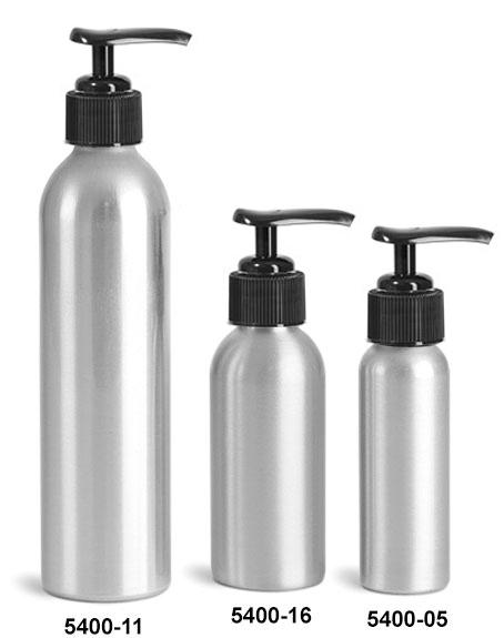 Metal Containers, Aluminum Bottles w/ Black Lotion Pumps