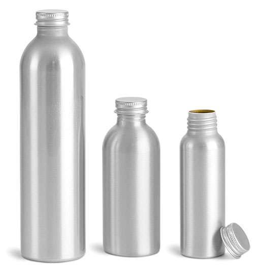 Metal Containers, Aluminum Bottles w/ Metal Caps
