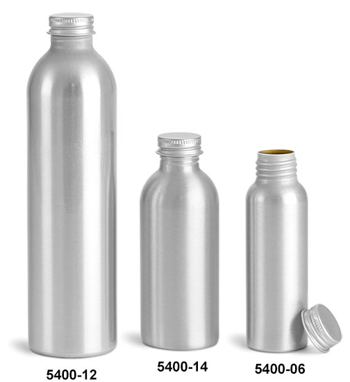 Metal Containers, Aluminum Bottles w/ Lined Aluminum Caps