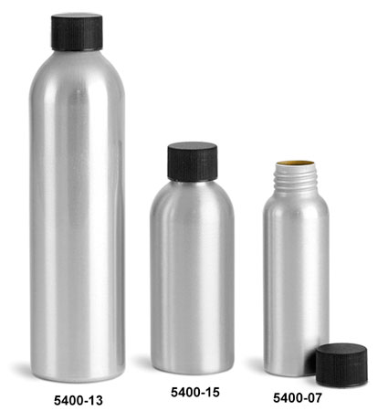 Metal Containers, Aluminum Bottles w/ Lined Black Screw Caps