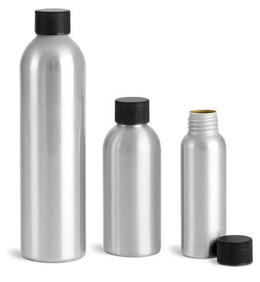 Metal Containers, Aluminum Bottles w/ Black Plastic Caps