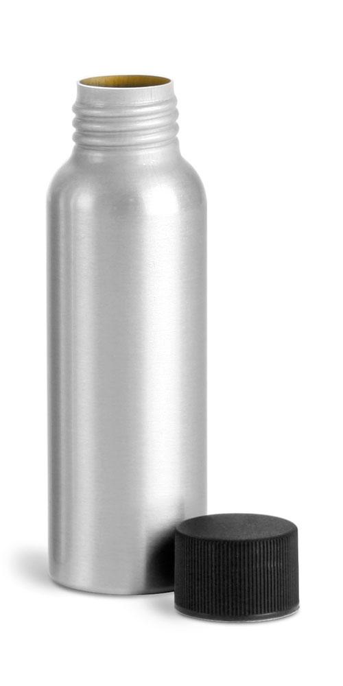 80 ml Aluminum Bottles w/ Lined Black Screw Caps