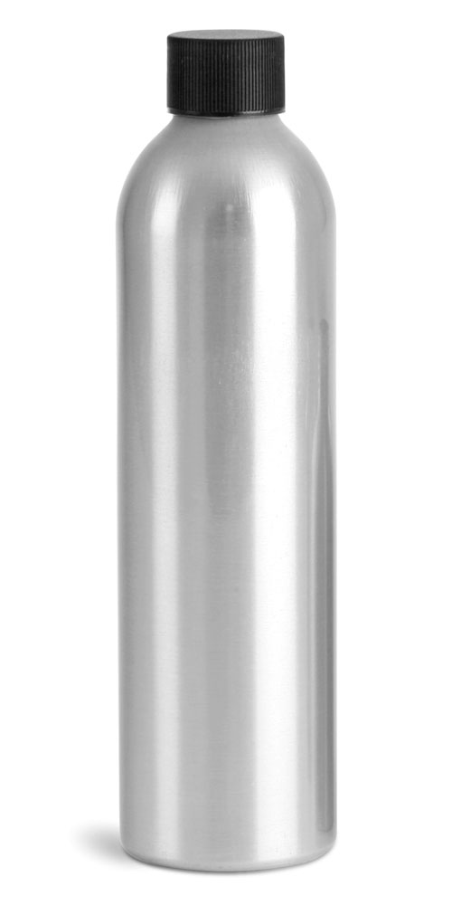 250 ml Aluminum Bottles w/ Lined Black Screw Caps