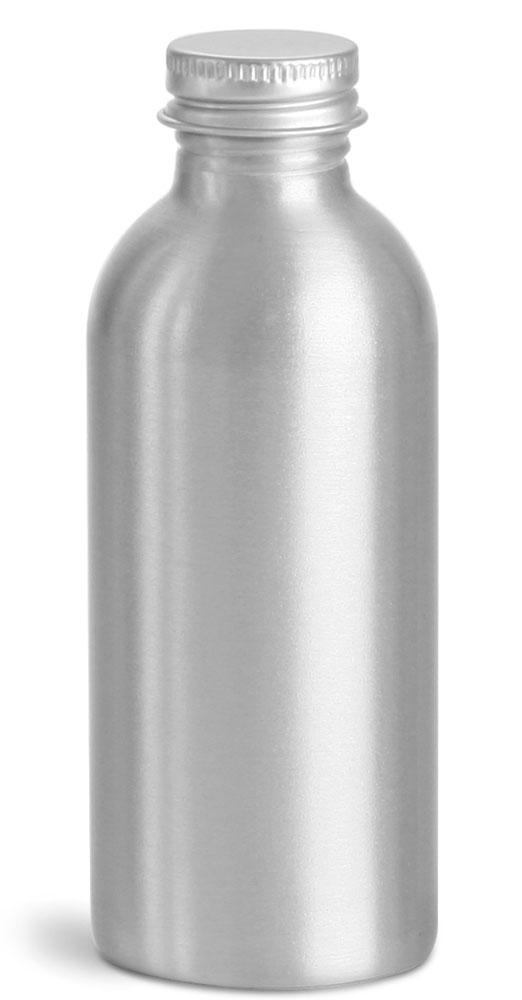 120 ml Aluminum Bottles w/ Silver Aluminum Caps