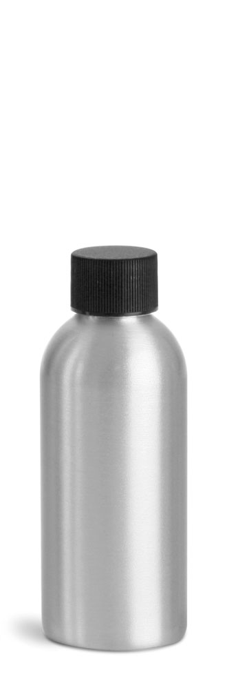 120 ml Aluminum Bottles w/ Black Ribbed PE Lined Caps