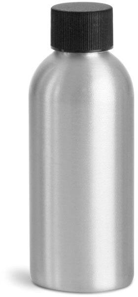 Aluminum Bottles w/ Black Ribbed PE Lined Caps