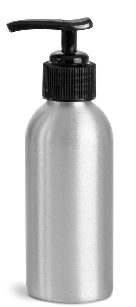 120 ml Aluminum Bottles w/ Black Lotion Pumps