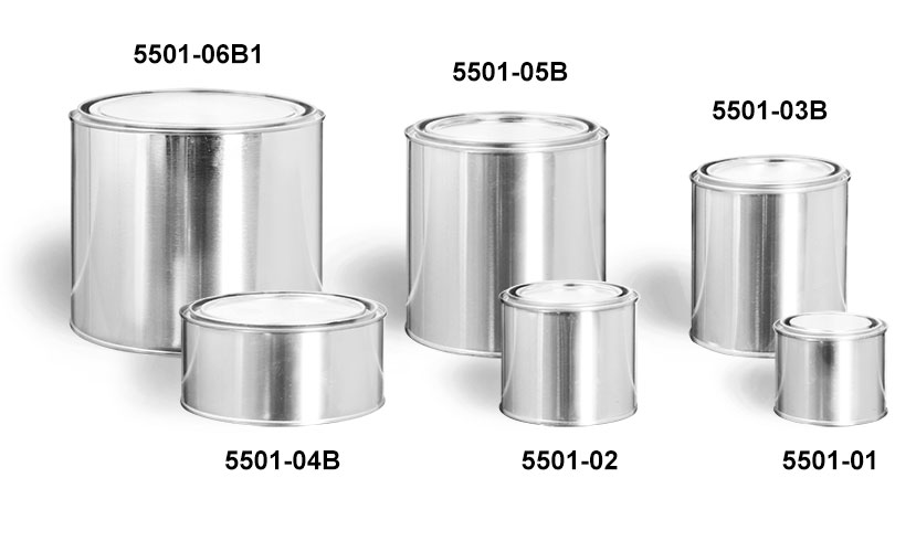 Metal Containers, Round Paint Style Metal Cans w/ Plugs