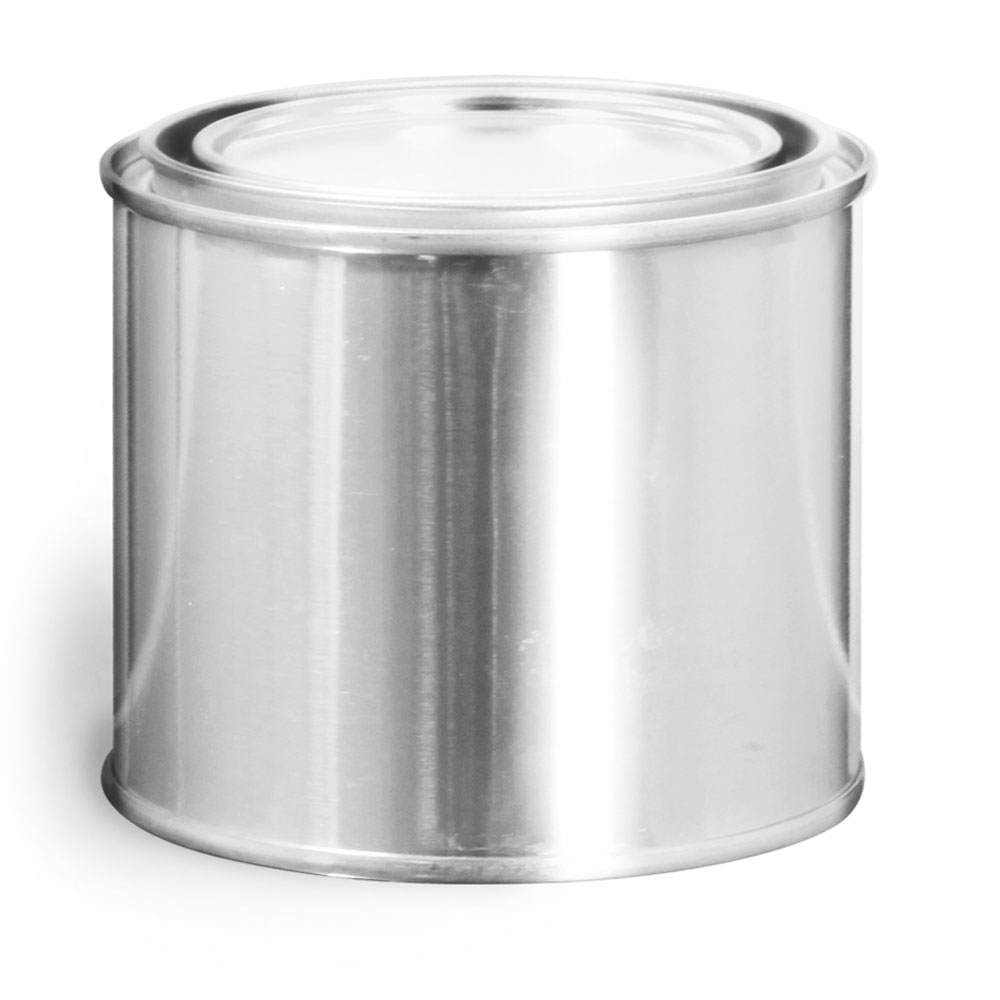 1/2 Pint Round Metal Paint Cans w/ Plugs