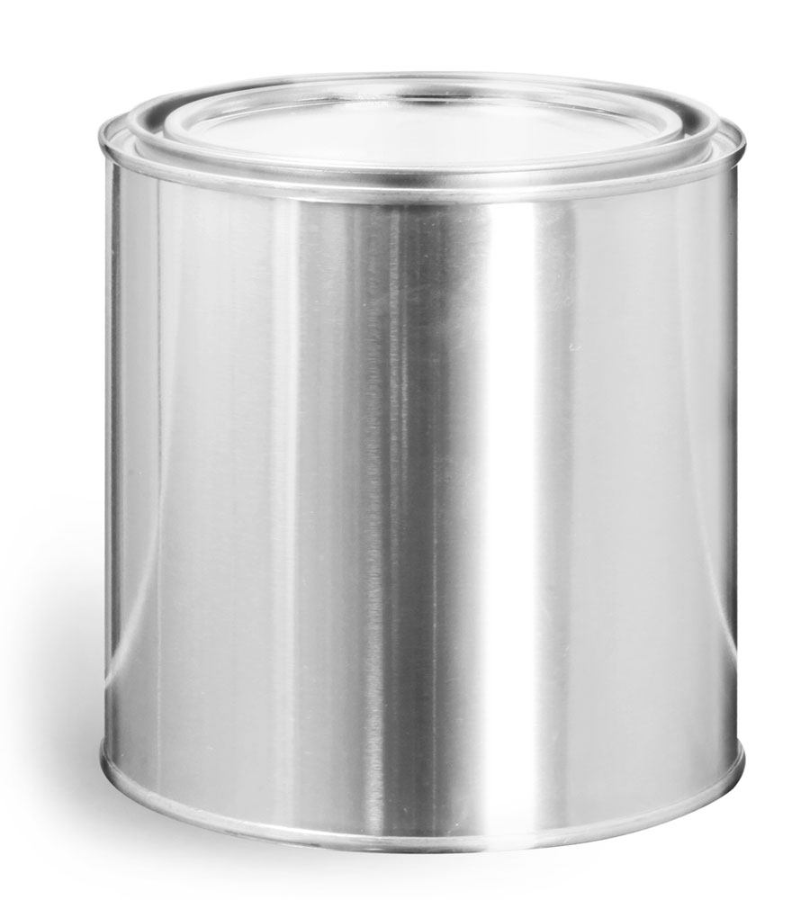 1 Quart Round Metal Paint Cans w/ Plugs