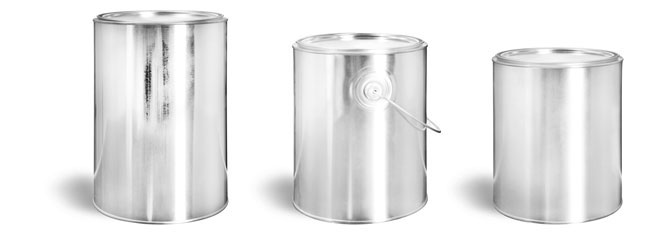 Metal Containers, Round Gallon Paint Style Metal Cans