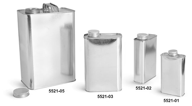 Metal Containers, Oblong Metal Cans With Screw Caps and Seals