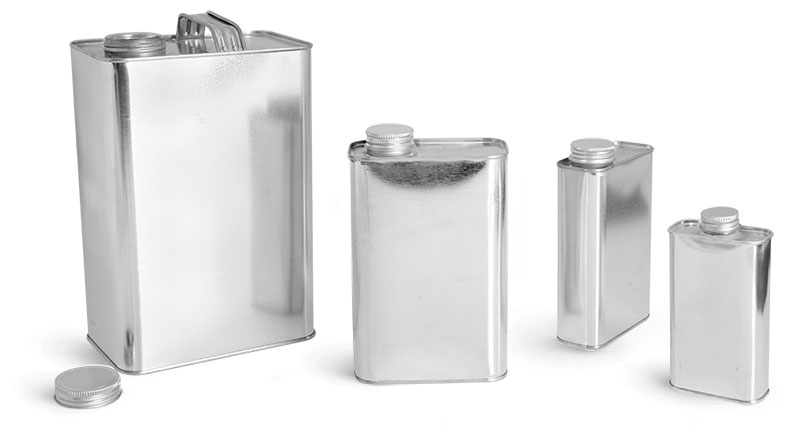 Metal Containers, Oblong Metal Cans w/ Caps and Seals