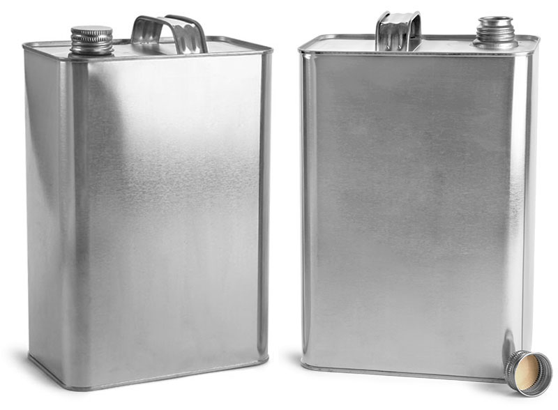 Metal Containers, Oblong Metal Cans w/ Solvseal Lined Screwcaps