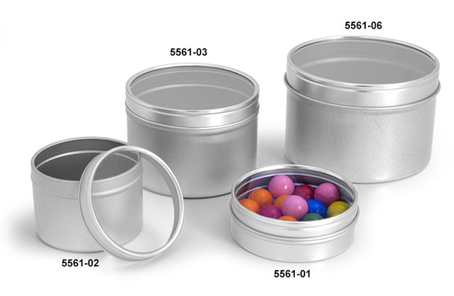 Metal Containers, Metal Tins With Clear View Tops