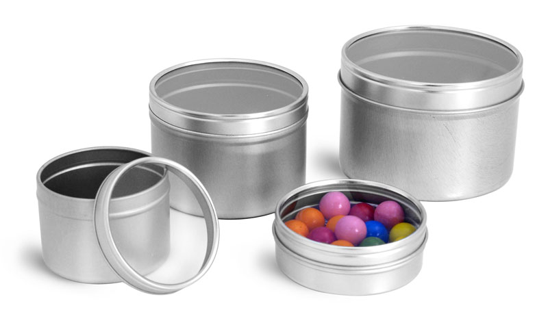 Metal Containers, Metal Tins w/ Clear View Tops