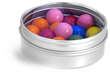 Round Metal Tins w/ Clear View Tops