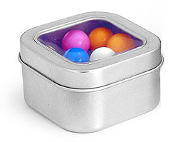 4 oz Square Metal Tins w/ Clear View Tops