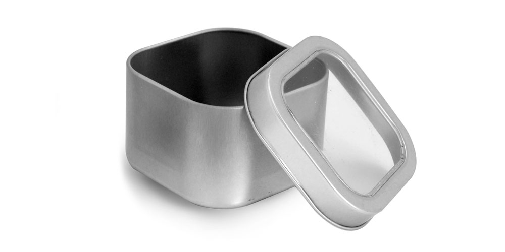 8 oz Square Metal Tins w/ Clear View Tops