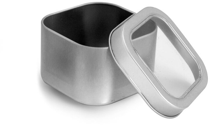 Square Metal Tins w/ Clear View Tops