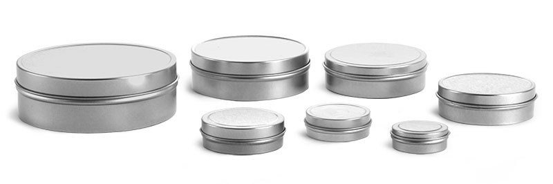 Metal Containers, Flat Metal Tins w/ Rolled Edge Covers