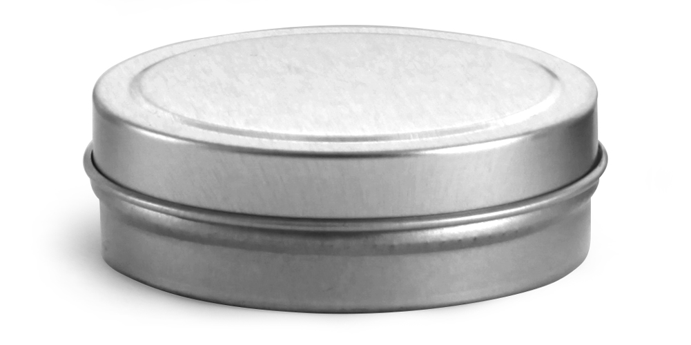 1 oz * Flat Metal Tins w/ Rolled Edge Covers