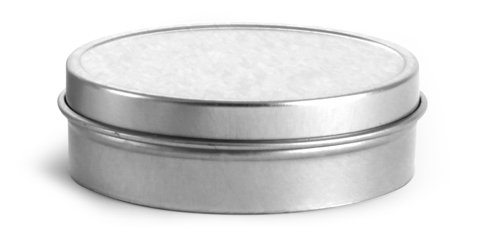 2 oz Flat Metal Tins w/ Rolled Edge Covers